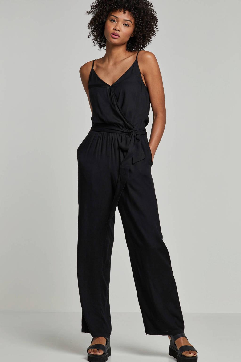 whkmp's beachwave jumpsuit met wikkel-look top, Zwart