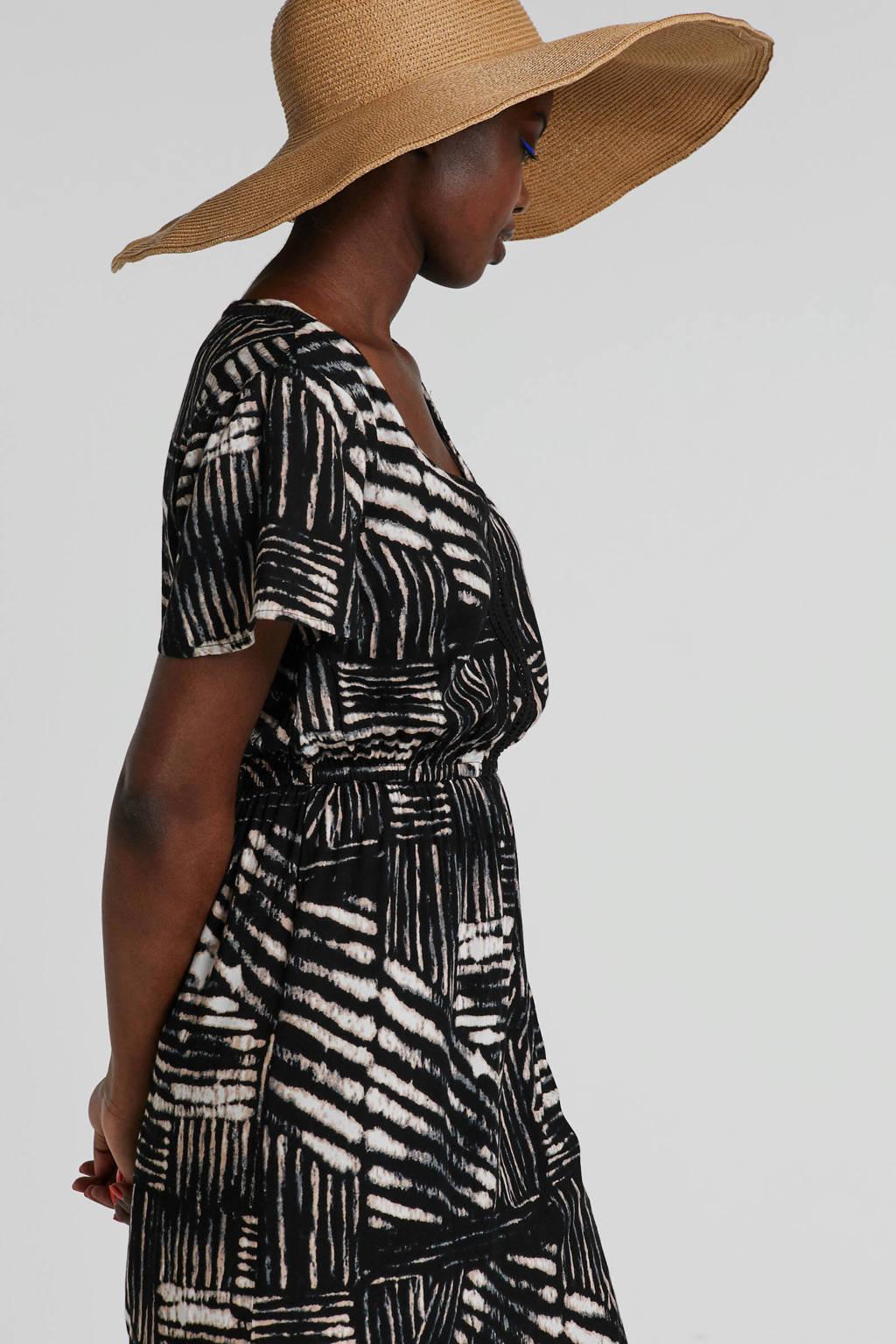 whkmp's beachwave jurk met print en ladderkant, Zwart/ecru