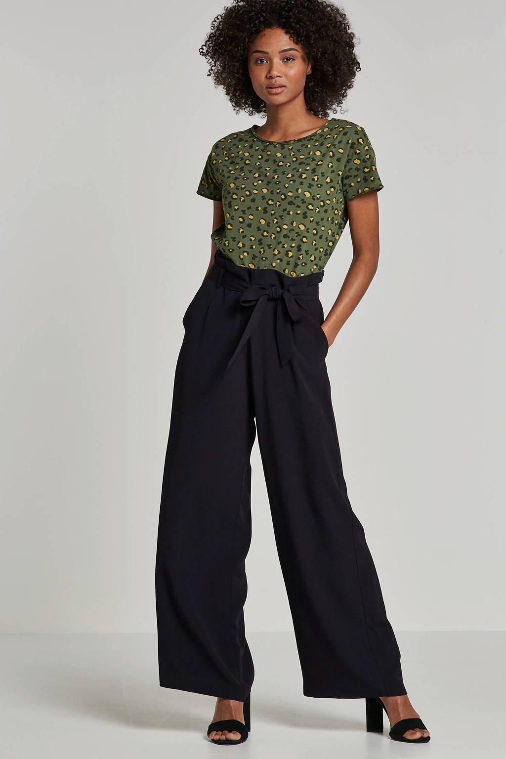 edc Women T-shirt met panterprint, Groen/zwart/geel