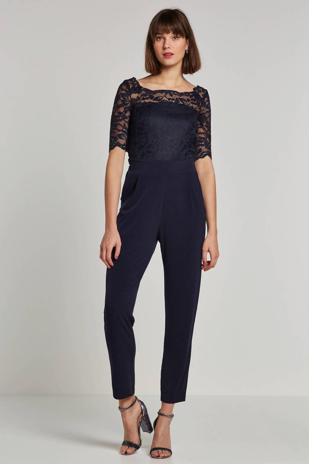 ESPRIT Women Collection jumpsuit met kanten details, Donkerblauw