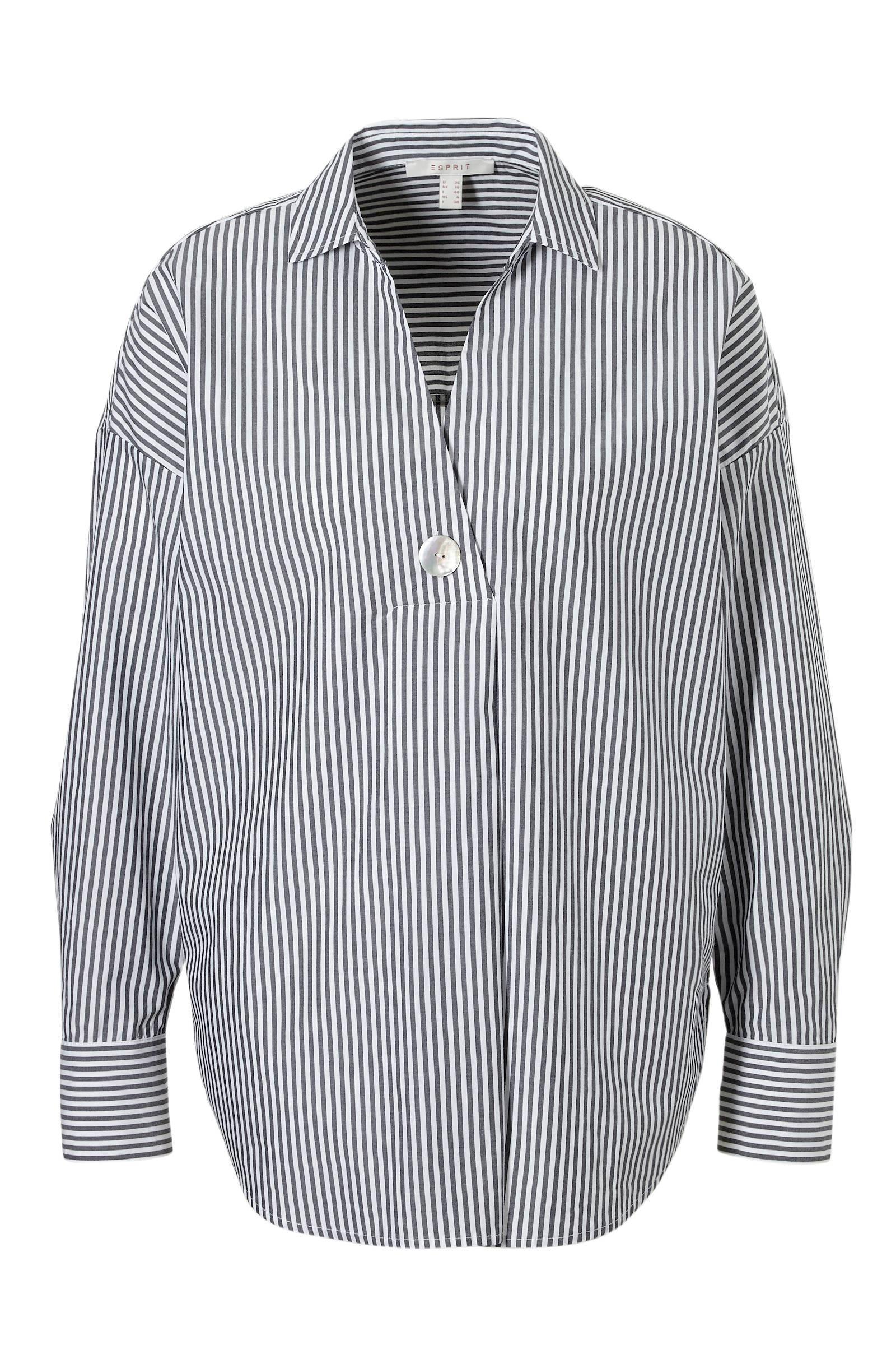 Grijs wit gestreepte blouse