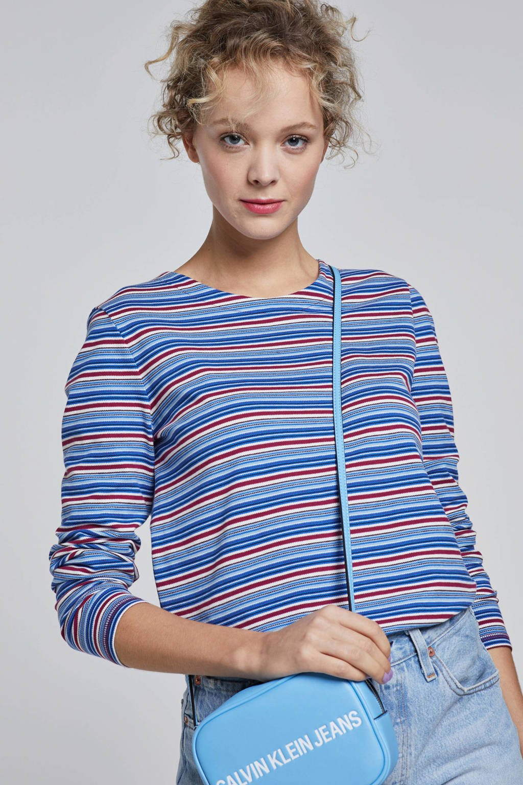 edc Women top met strepen, Blauw/ paars/ wit