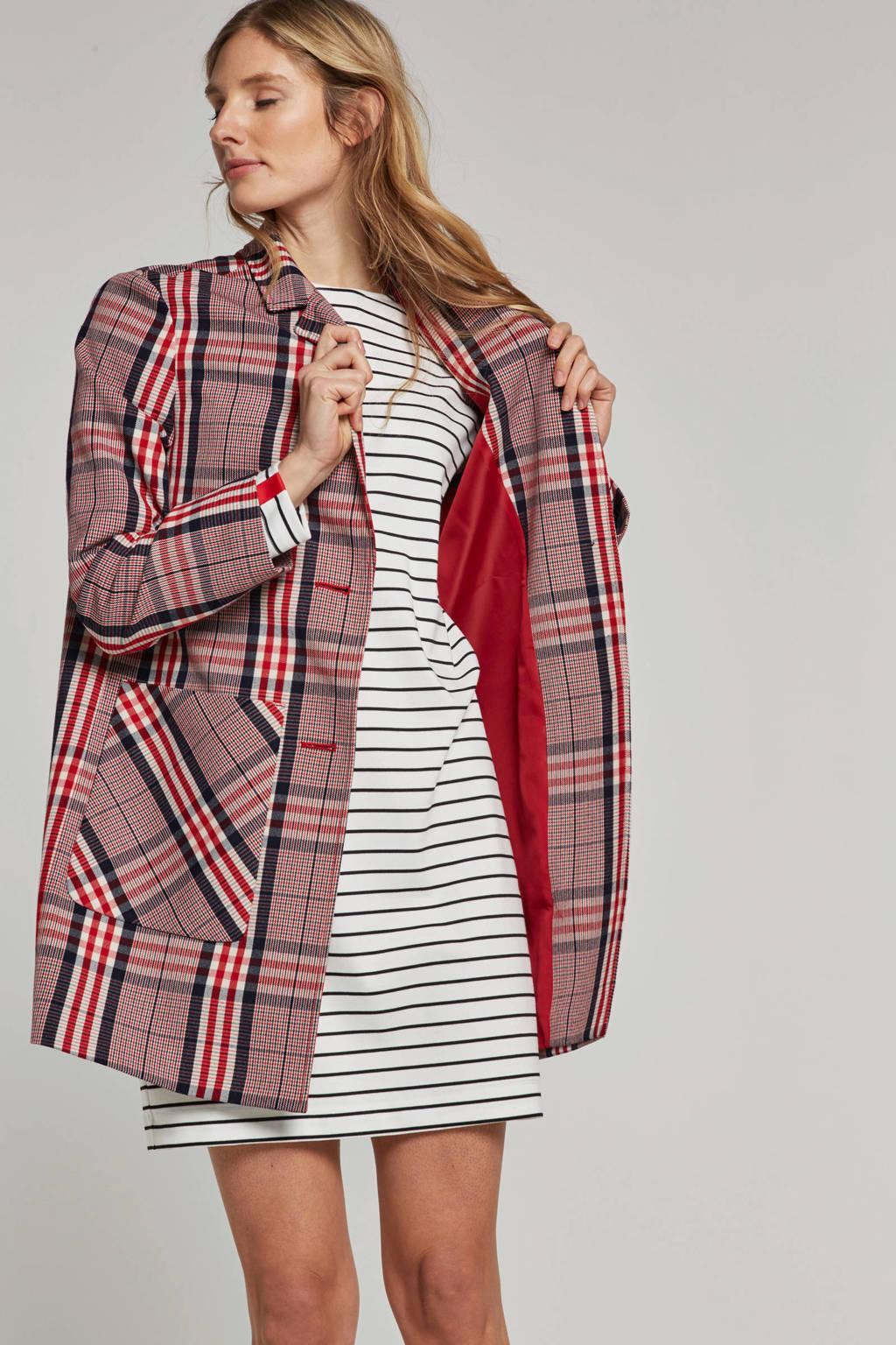 ESPRIT Women Casual Coat met ruiten, Rood