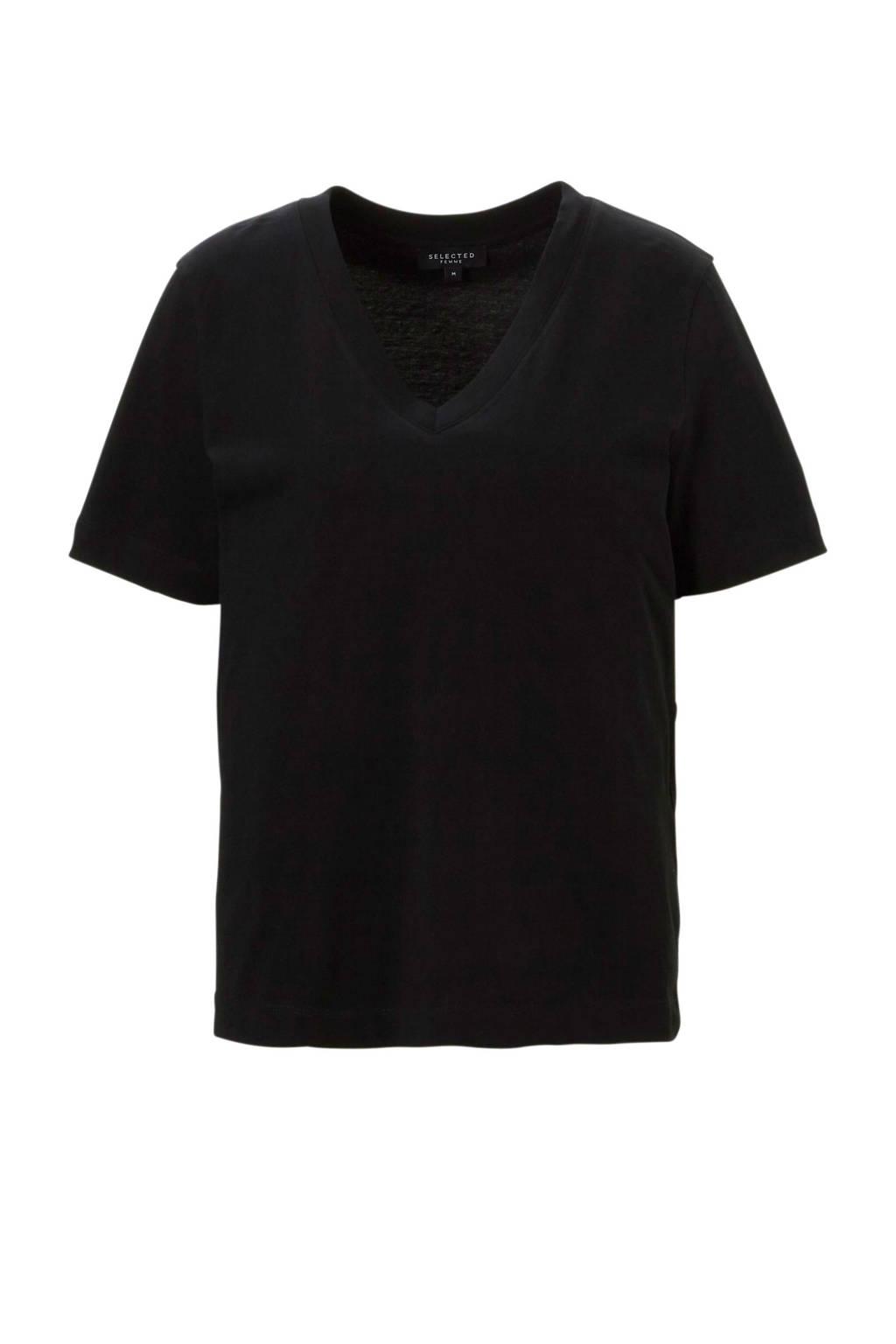 SELECTED FEMME T-shirt met V-hals, Zwart