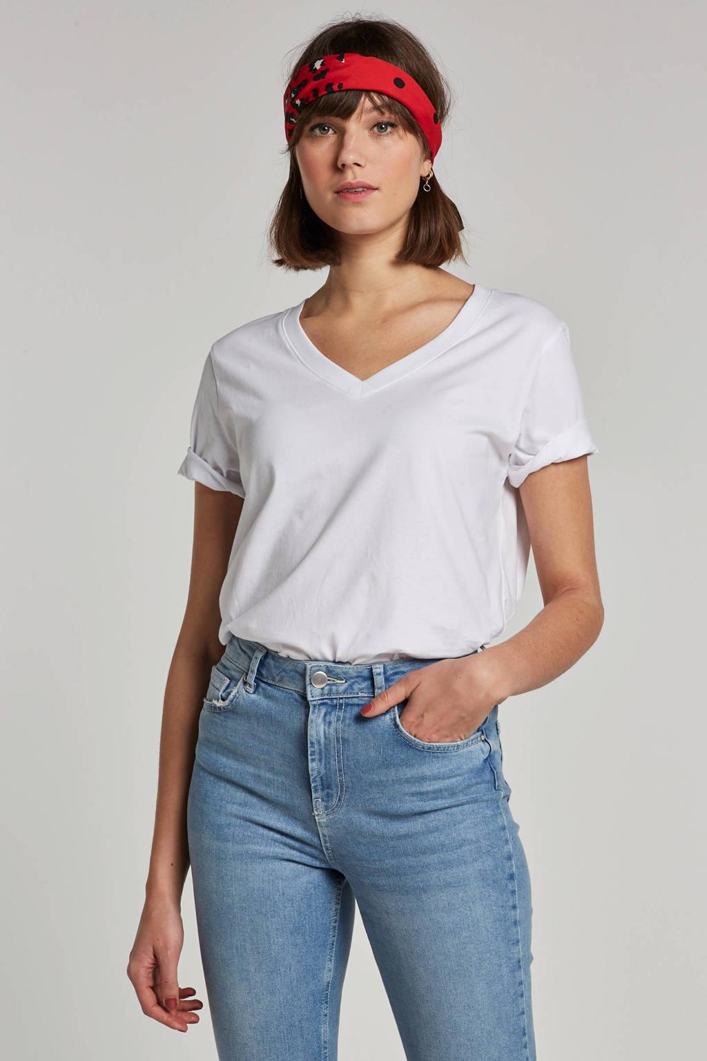 SELECTED FEMME T-shirt met V-hals, Wit
