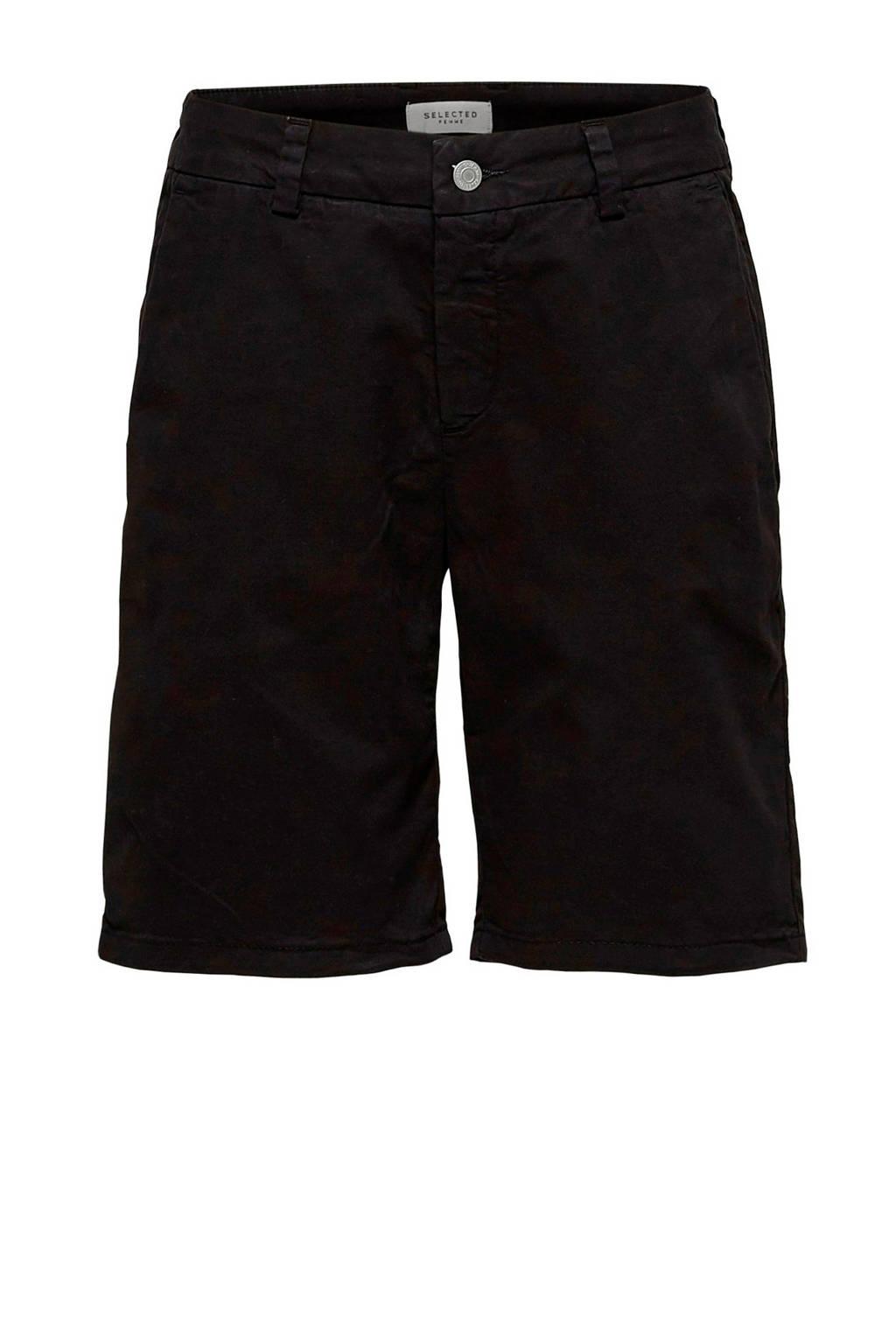 SELECTED FEMME straight fit jeans short zwart, Zwart