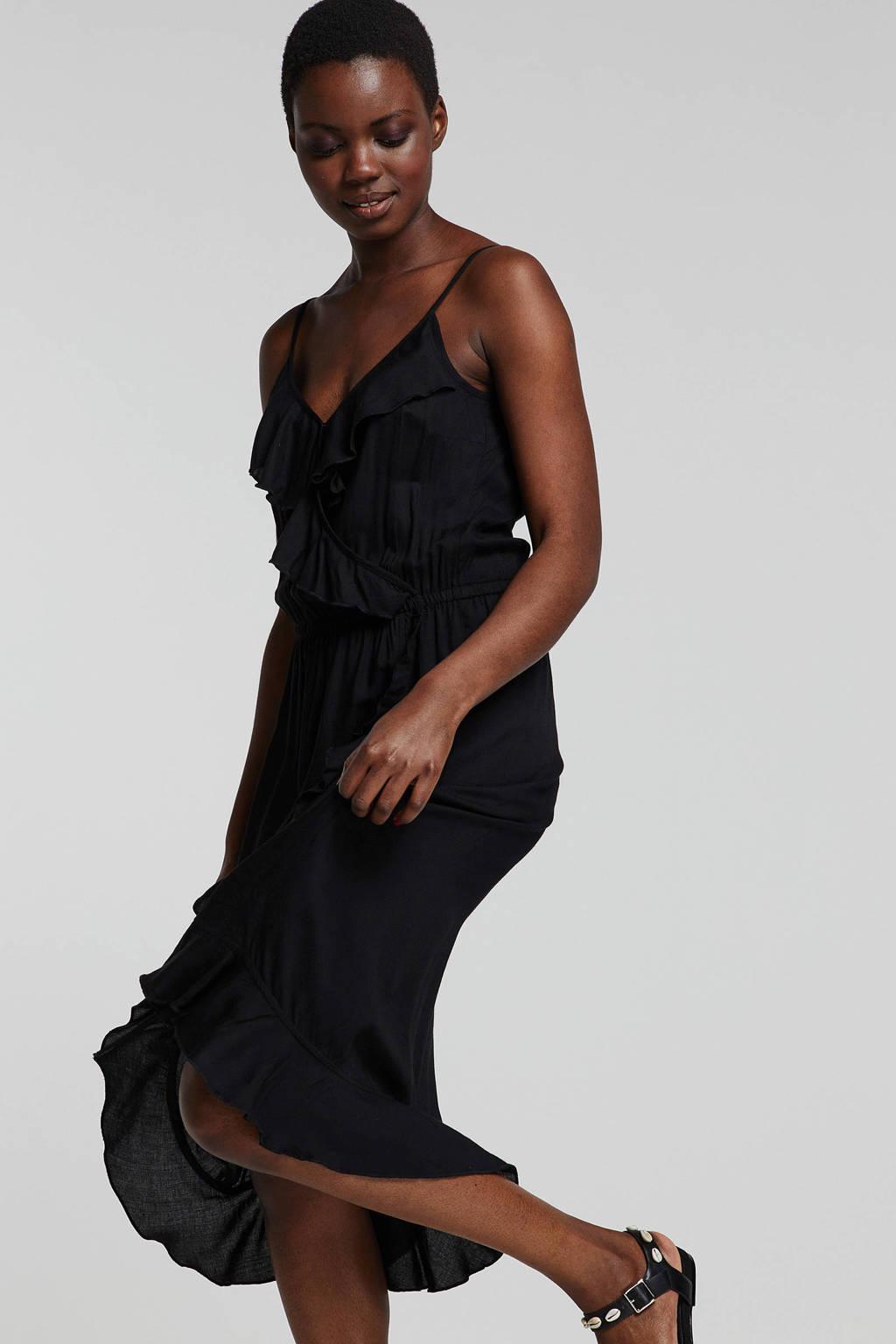 whkmp's beachwave wikkel-look jurk met rush, Zwart