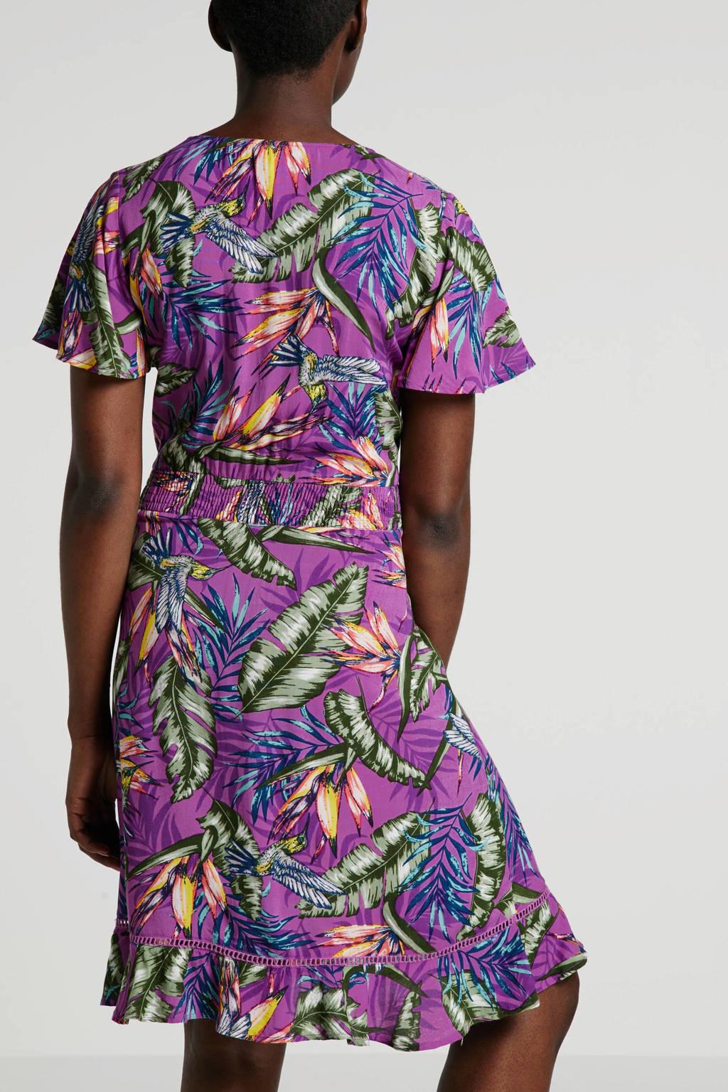whkmp's beachwave jurk met bloemenprint, Lila/groen