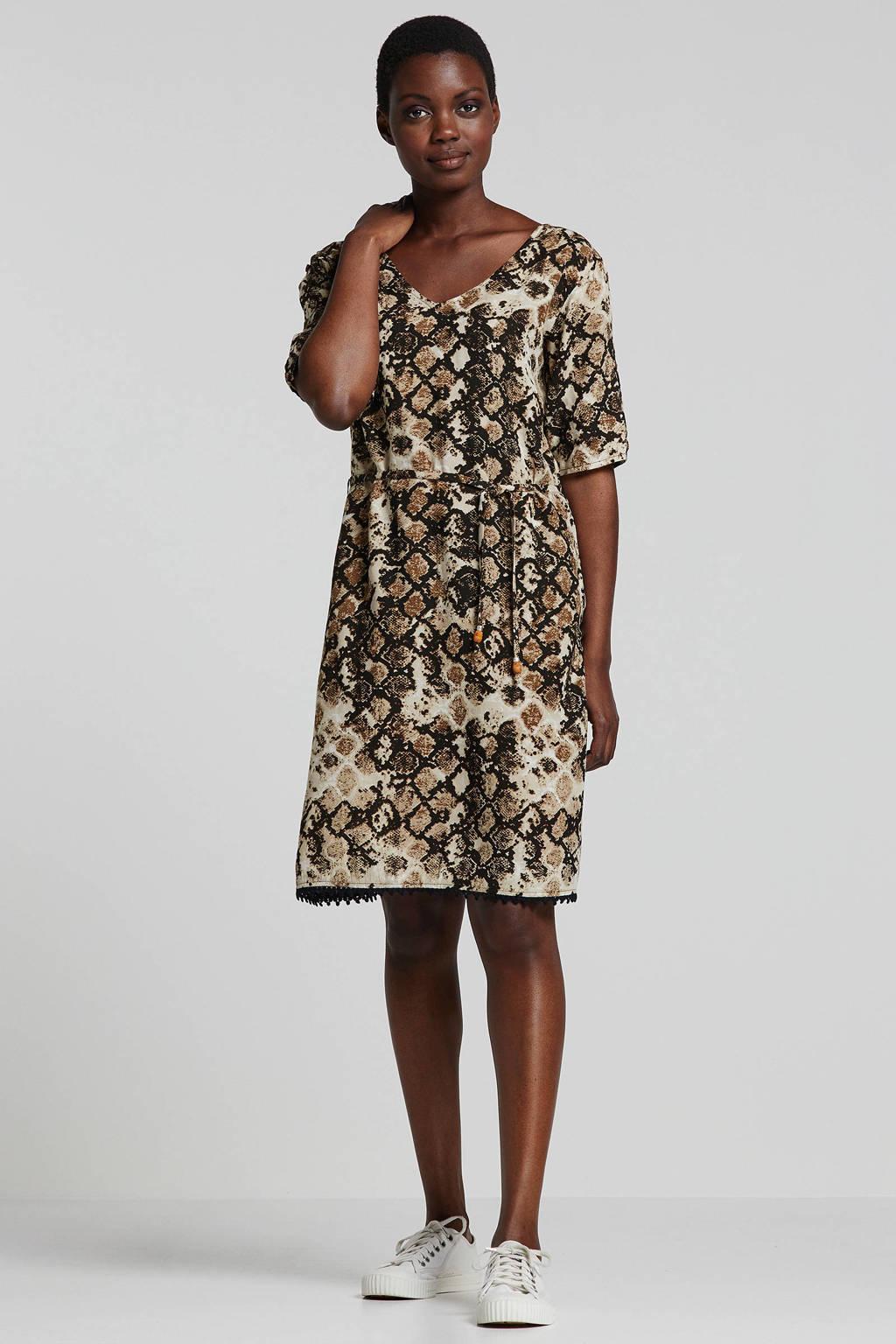 whkmp's beachwave jurk met slangenprint, Beige/zwart/taupe