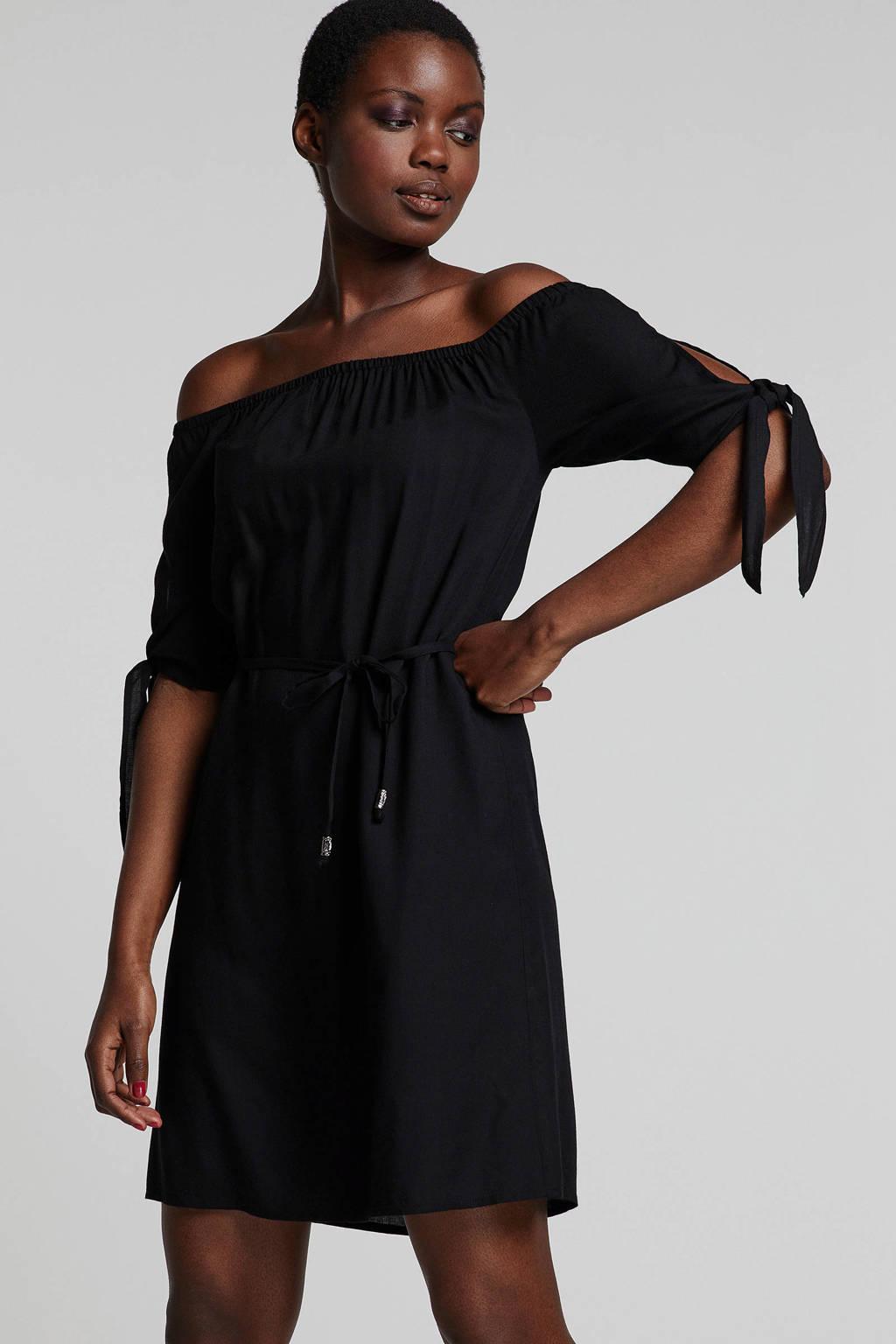 whkmp's beachwave jurk met boothals, Zwart
