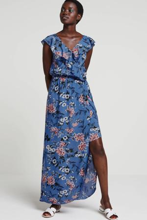 gebloemde maxi jurk met volant
