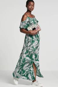 whkmp's beachwave offshoulder jurk met rush en bladprint, Groen/wit