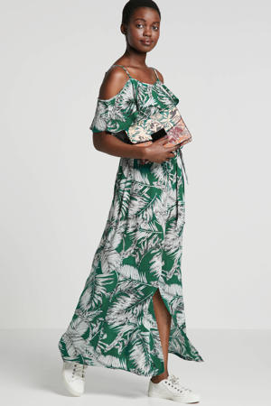 offshoulder jurk met rush en bladprint