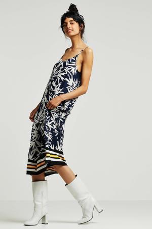 jurk met bladprint donkerblauw/wit