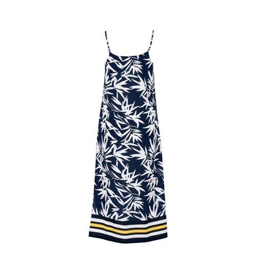 whkmp's beachwave jurk met bladprint donkerblauw wit