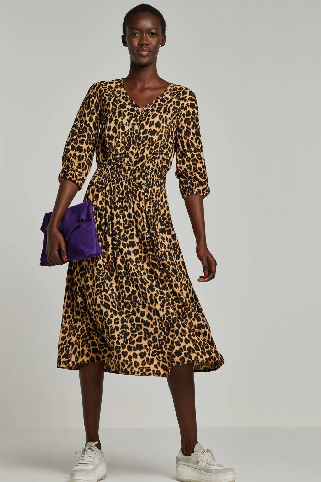 whkmp's beachwave jurk met panterprint, Zwart/camel