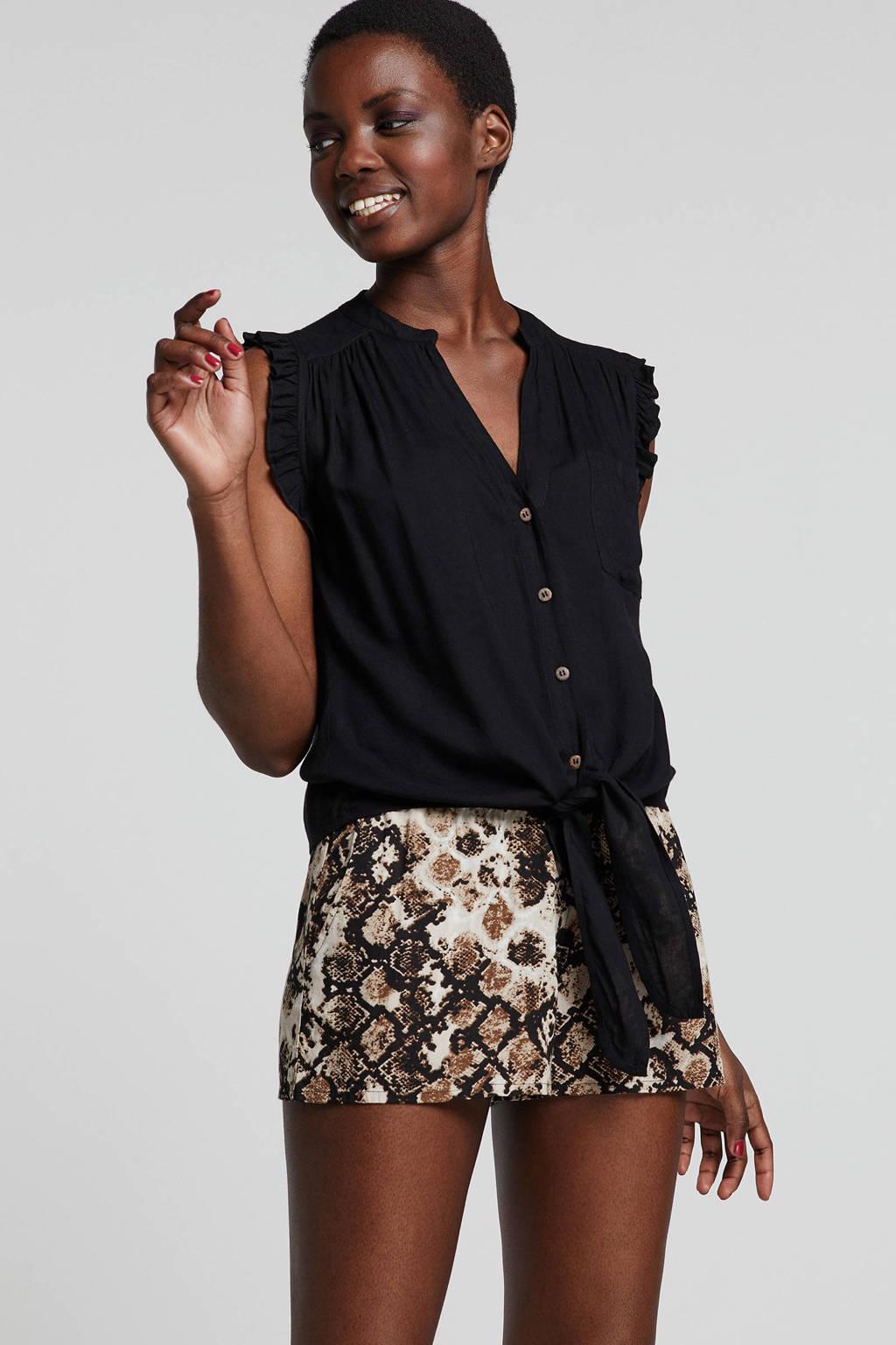 whkmp's beachwave blouse met strik en ruches, Zwart