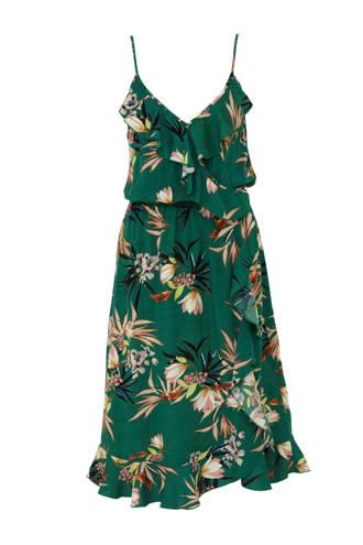 gebloemde jurk met volant groen