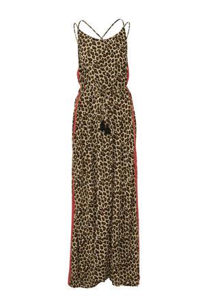 maxi jurk met panterprint en contrastbies bruin/zwart/rood