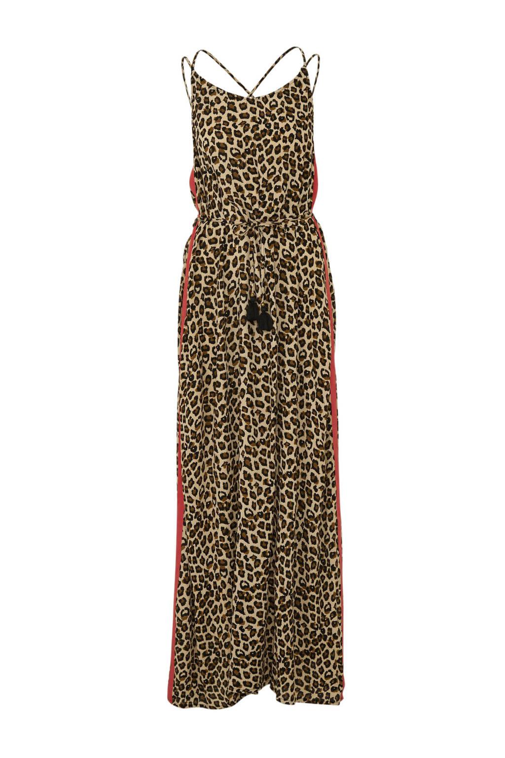 whkmp's beachwave maxi jurk met panterprint en zijstreep, Bruin/Zwart/Rood