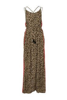maxi jurk met panterprint en zijstreep