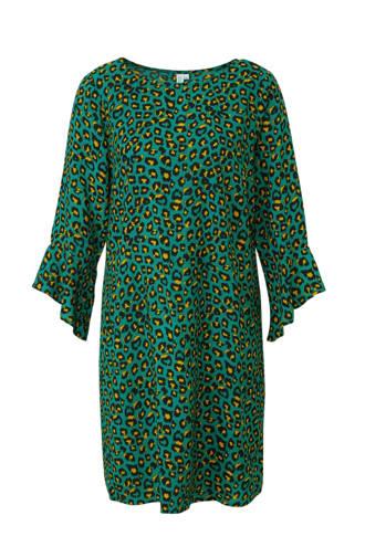 jurk met volant mouw en panterprint