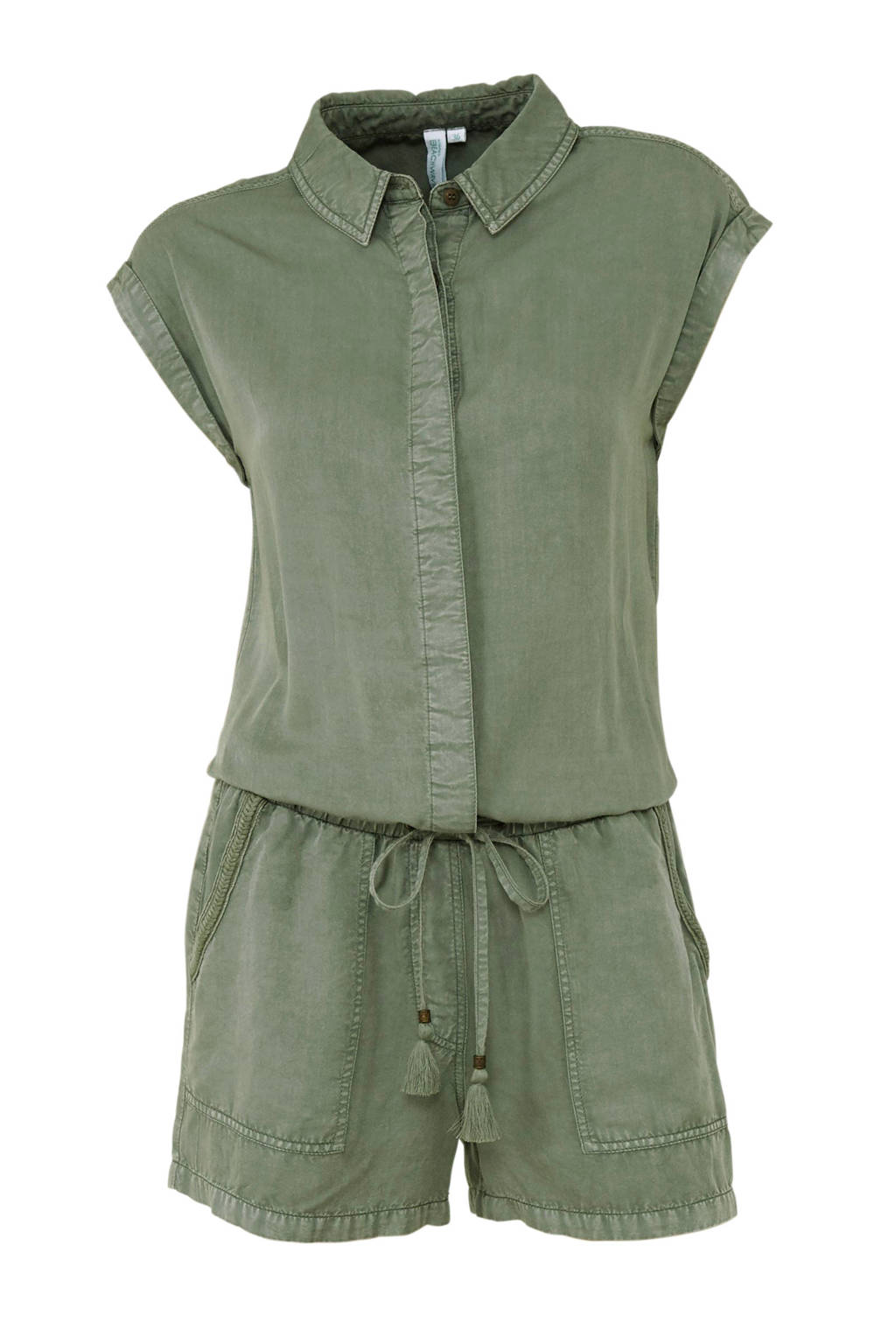 whkmp's beachwave playsuit van viscose tencel met vintage-look, Groen
