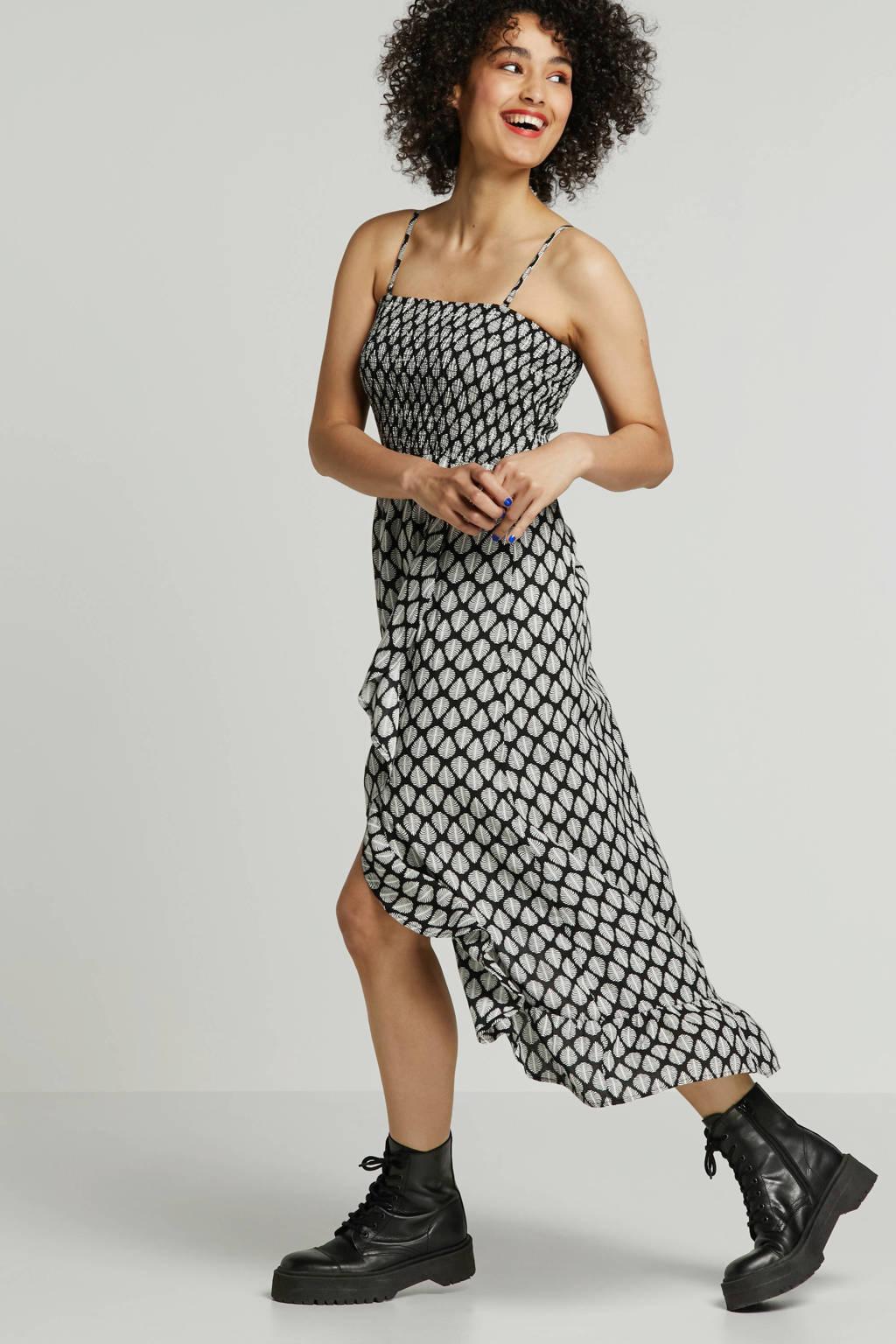 whkmp's beachwave jurk met smok-top en all-over print, Zwart/ecru