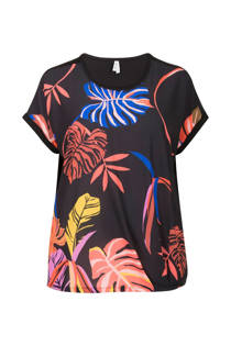 Miss Etam Plus top met blad print zwart (dames)