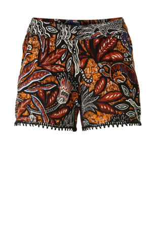 regular fit short met all over print bruin/zwart/oranje