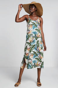 whkmp's beachwave geweven viscose jurk met bladprint, Lichtgroen/groen