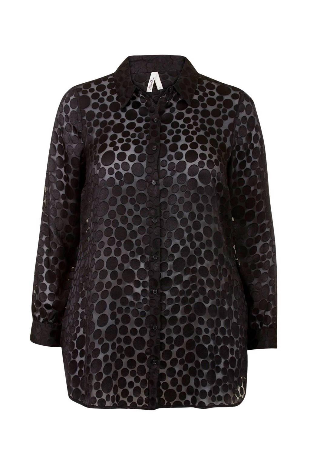 Miss Etam Plus blouse met stippen zwart, Zwart