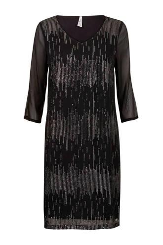 Regulier semi-transparante jurk met pailletten zwart