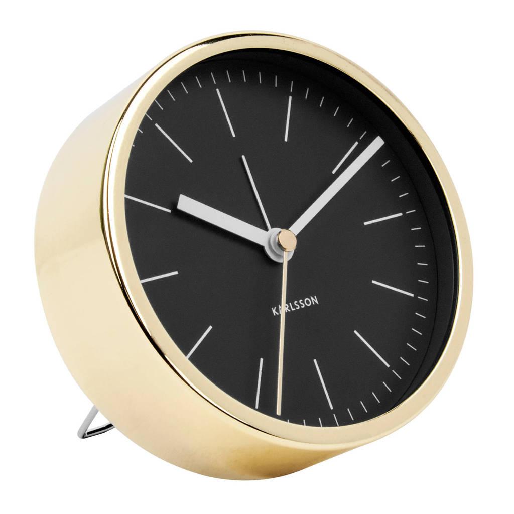 Karlsson Klokken alarmklok Minimal (Ø10 cm), Zwart/goud