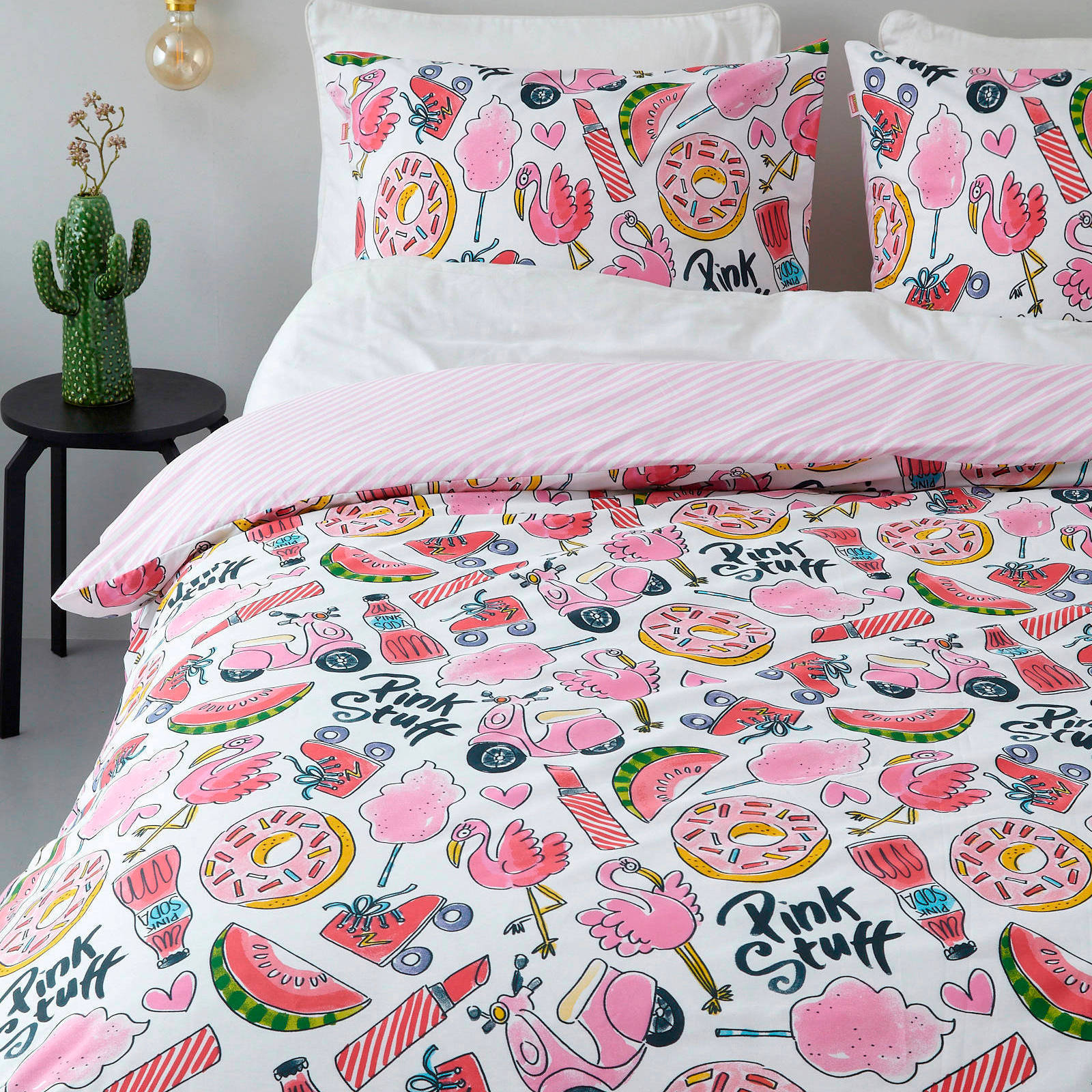 blond amsterdam katoenen dekbedovertrek lits jumeaux roze