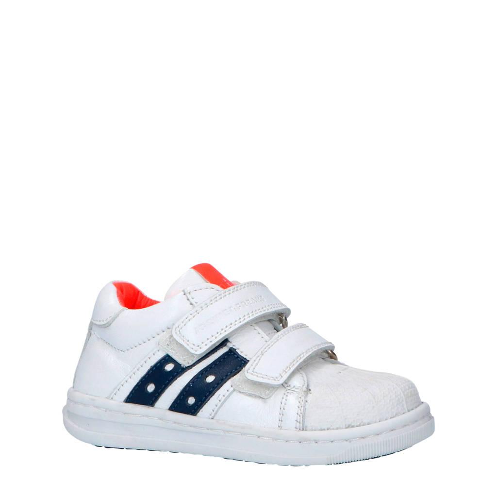 JOCHIE&FREAKS  leren sneakers wit, wit/donkerblauw/oranje