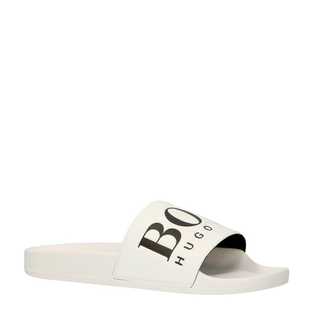 Boss Solar Slid Logo slippers wit, Wit/zwart