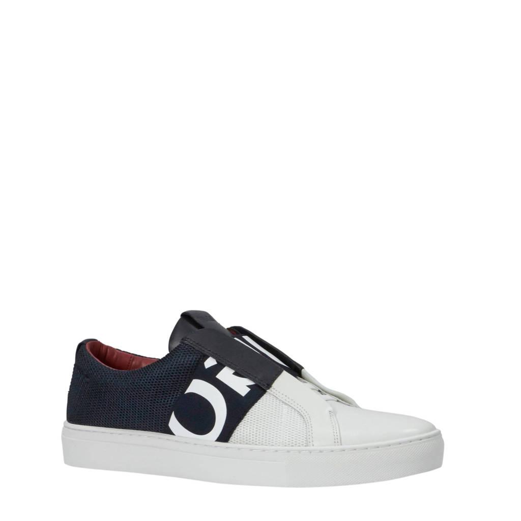 HUGO   leren sneakers wit/blauw, Wit/blauw