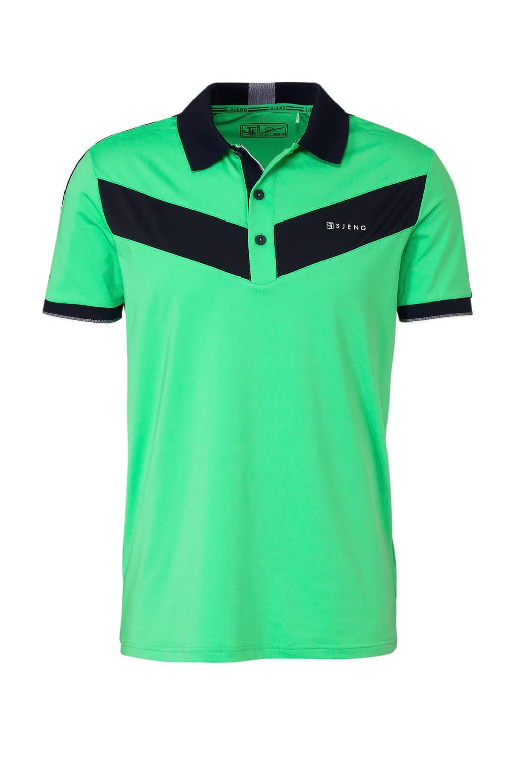 Sjeng Sports   polo groen, Groen/donkerblauw