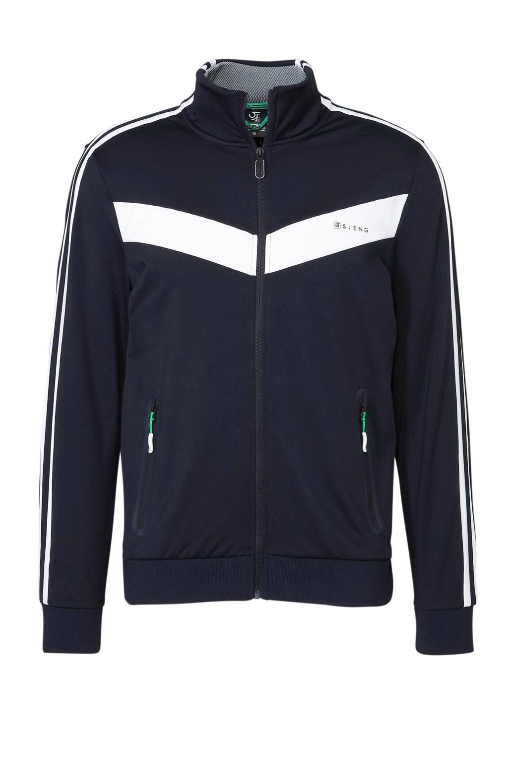 Sjeng Sports   vest donkerblauw, Donkerblauw/wit