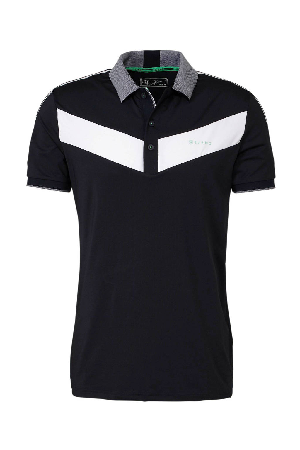 Sjeng Sports   polo donkerblauw, Donkerblauw/wit