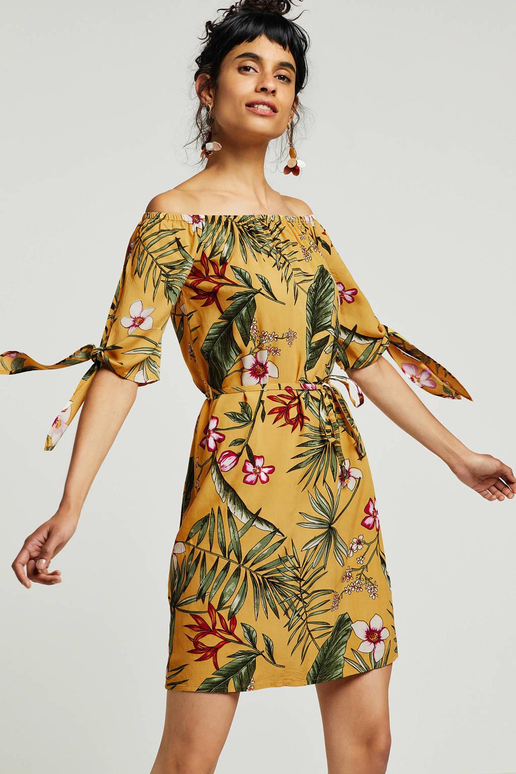 whkmp's beachwave jurk met boothals en bloemenprint, Okergeel