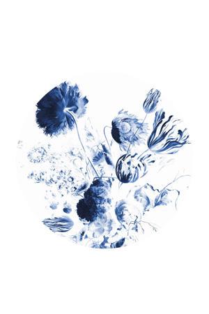 behangcirkel Royal Blue Flowers (Ø190 cm)