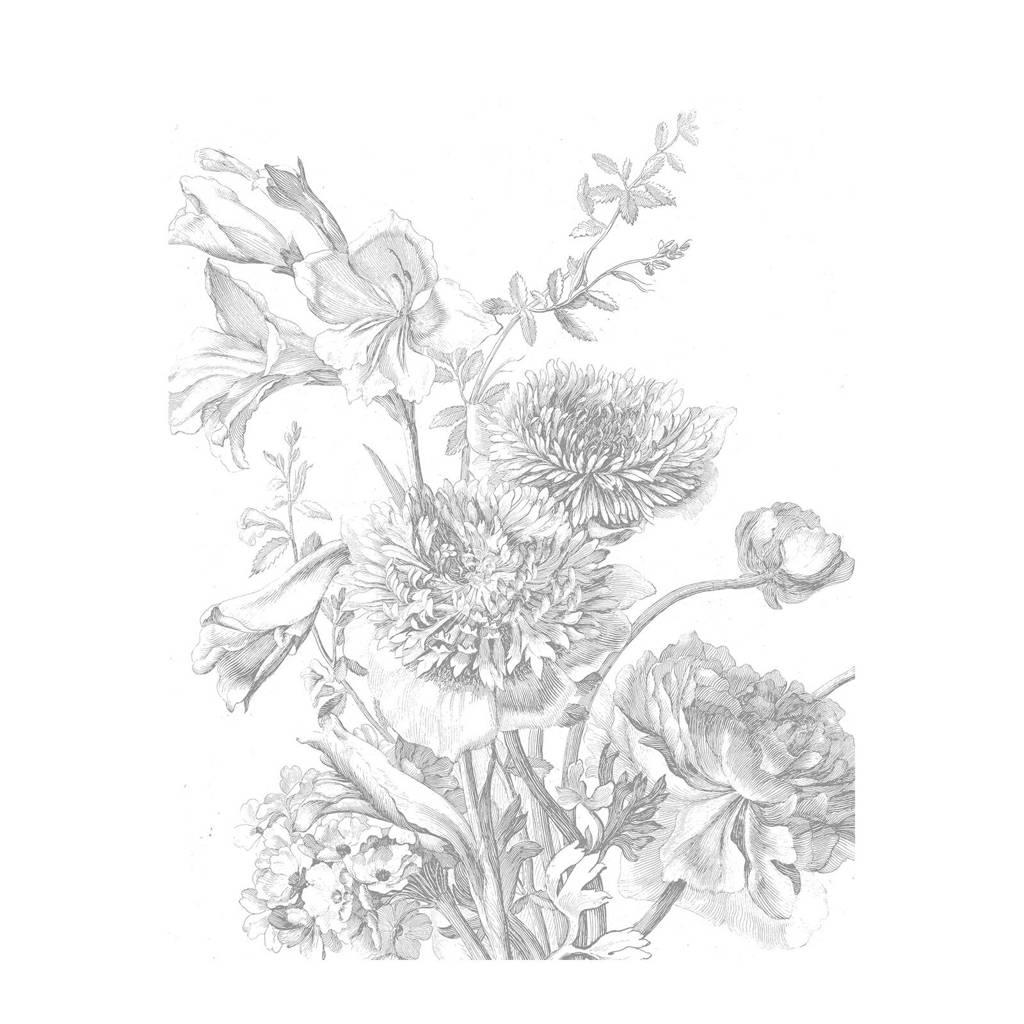 KEK Amsterdam behangpaneel Engraved Flowers (142,5x180 cm)  ( cm), Grijs