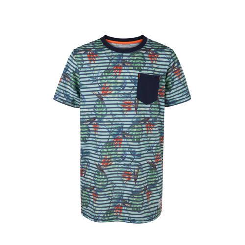 WE Fashion T-shirt met allover print donkerblauw kopen