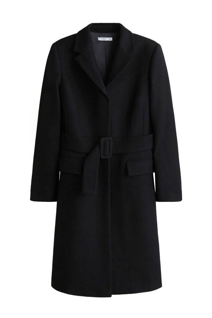 coat Mango met zwart zwart wol coat wol Mango met 6q1znw