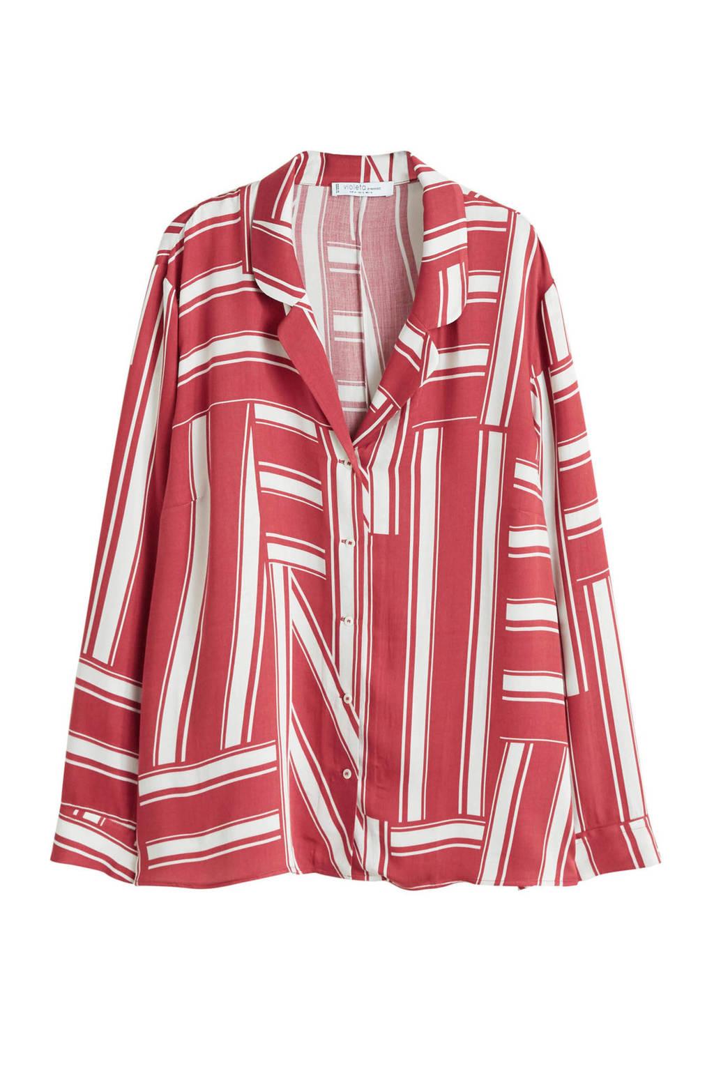 Violeta by Mango blouse met streep dessin rood, Rood/ Ecru
