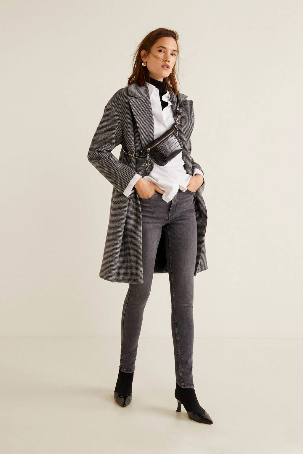 Mango high waist skinny jeans zwart, Zwart