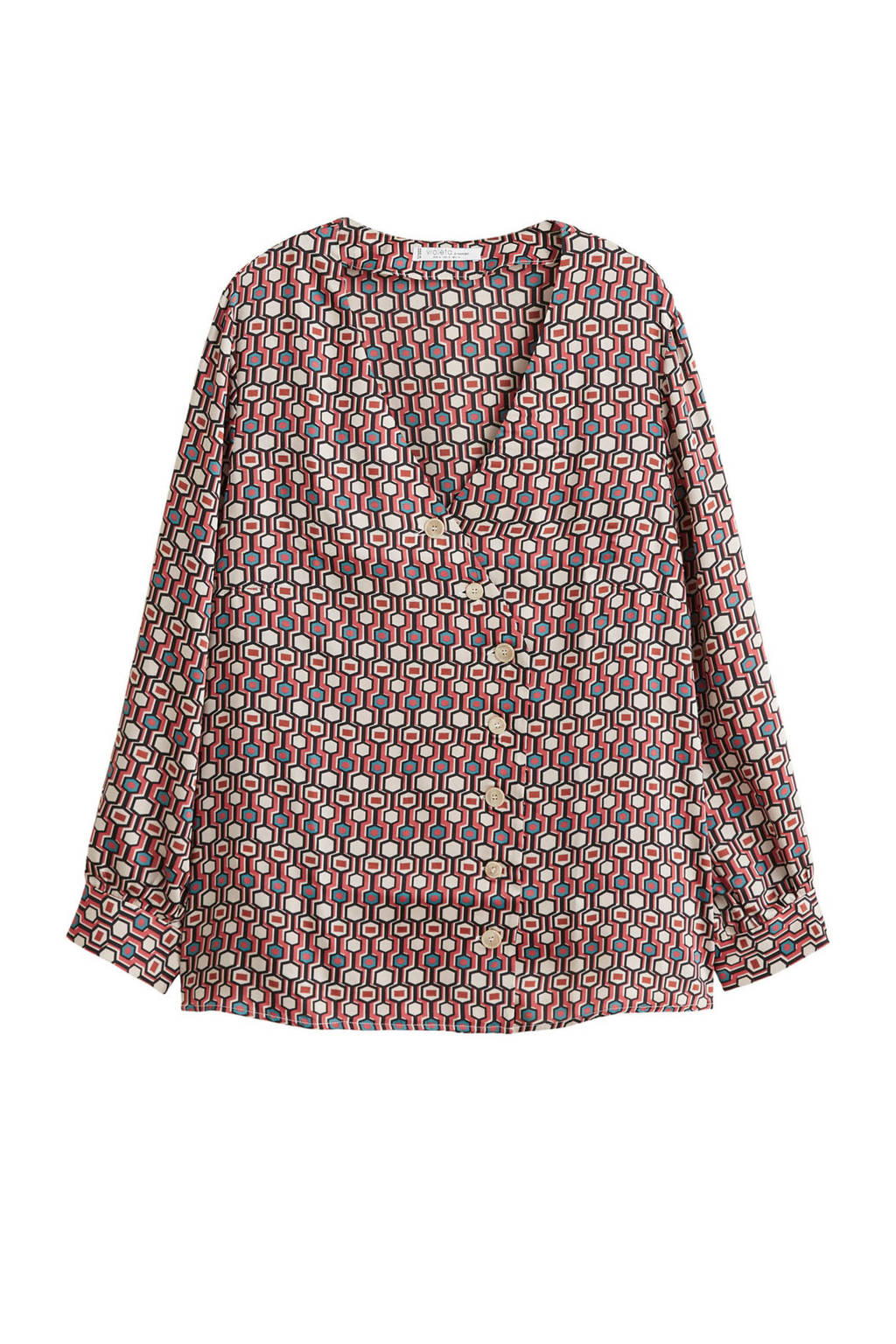 Violeta by Mango satijnen blouse met allover print, Bruin
