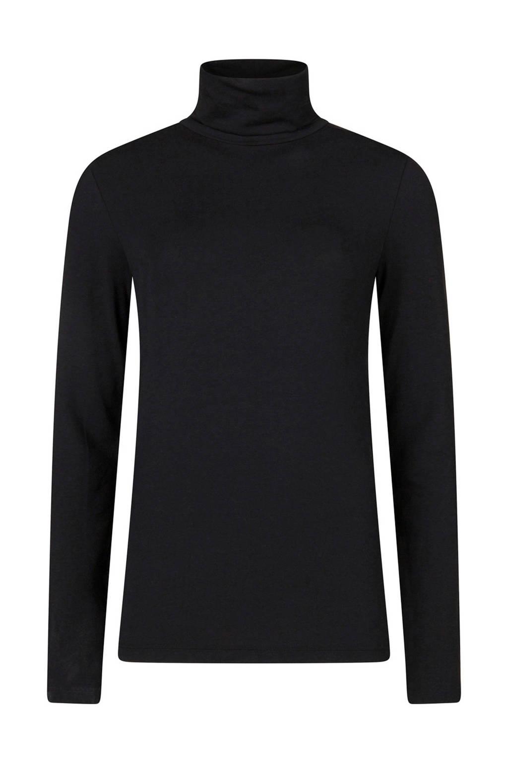 WE Fashion top met col zwart, Zwart